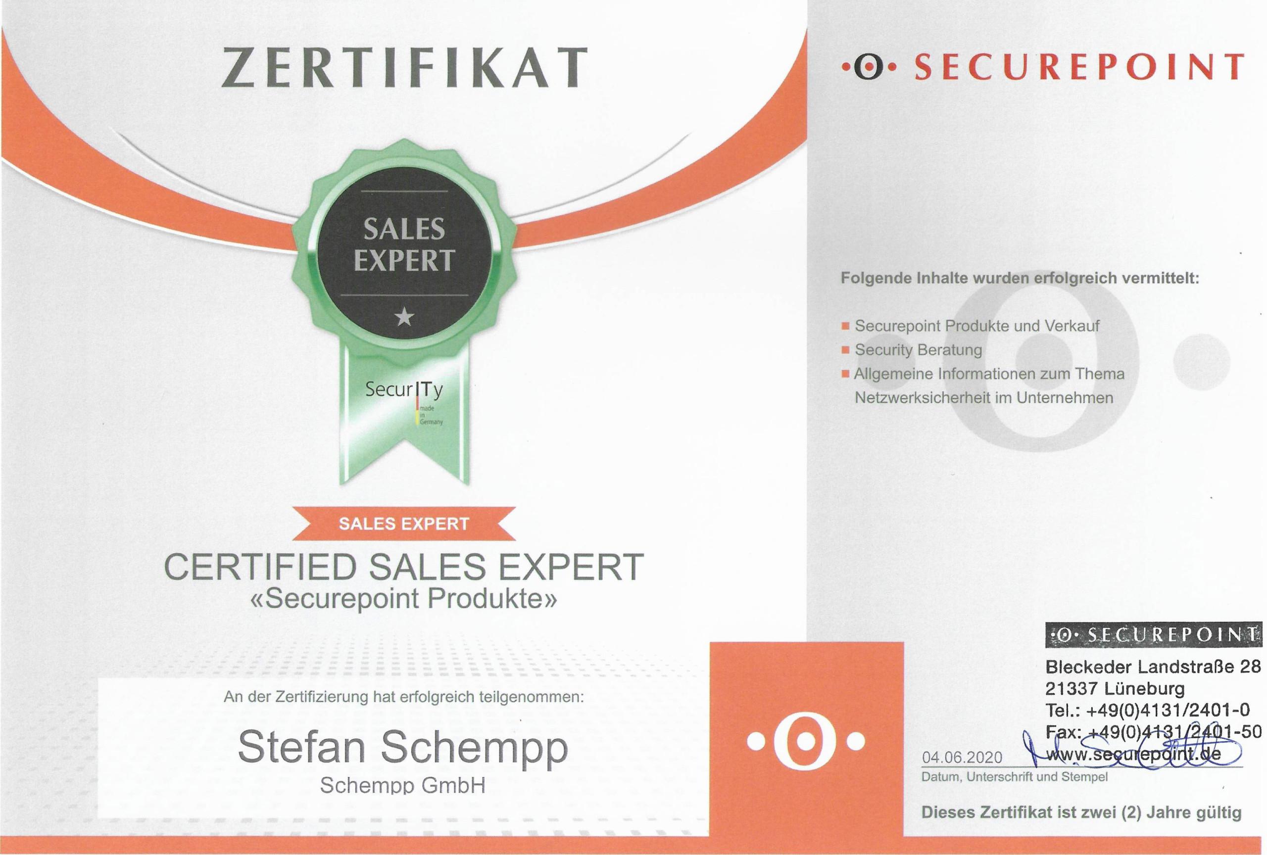 Securepoint Sales Expert Zertifikat